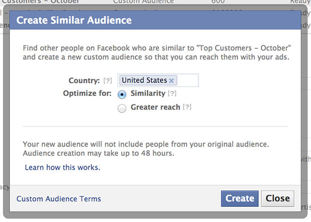 Facebook's Lookalike Audiences Lets Advertisers Target Similar Users If you are one of those brands that bought likes to have likes, this will be a problem. I know I've looked at many companies with huge fan bases in India and no product offering. Think about the implication, this feature becomes useless or worse a great way to dump good money after bad. On the flip side a brand with a well built fan base, say launching a product in new markets, will find this very useful. Facebook is taking a step toward allowing brands to reach those users that are already likely to be your advocates. As a means of market entry this cannot be overstated. Need to play with the tool a little but it might gain even more power if you were able to target based on another page's demo…  Say you are launching an NHL game… Target users that are similar to NHL fans… boom  Target users similar to EA sports fans… boom  If that is not an option, you can build a profile by purchasing ads around those interests and then convert to the similar mode. It should yield better communities, better edge rank, and ultimately a lower cost per action.