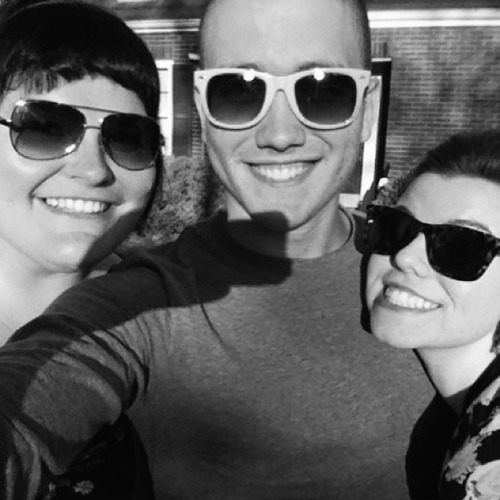 anewchristina:  Myself, Ethan, and Rachel. Traded my orange glasses to Ethan for these aviators. Traded emotional agony for some time with these folks.  Ethan <3