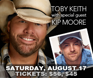 Toby Keith and Kip Moore at the Kentucky State Fair. Tickets go on sale May 10!