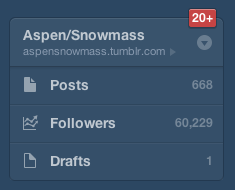 Just passed 60,000 followers on the Aspen/Snowmass Tumblr. Our growth has been nothing short of phenomenal.  Can't stop. Won't stop.