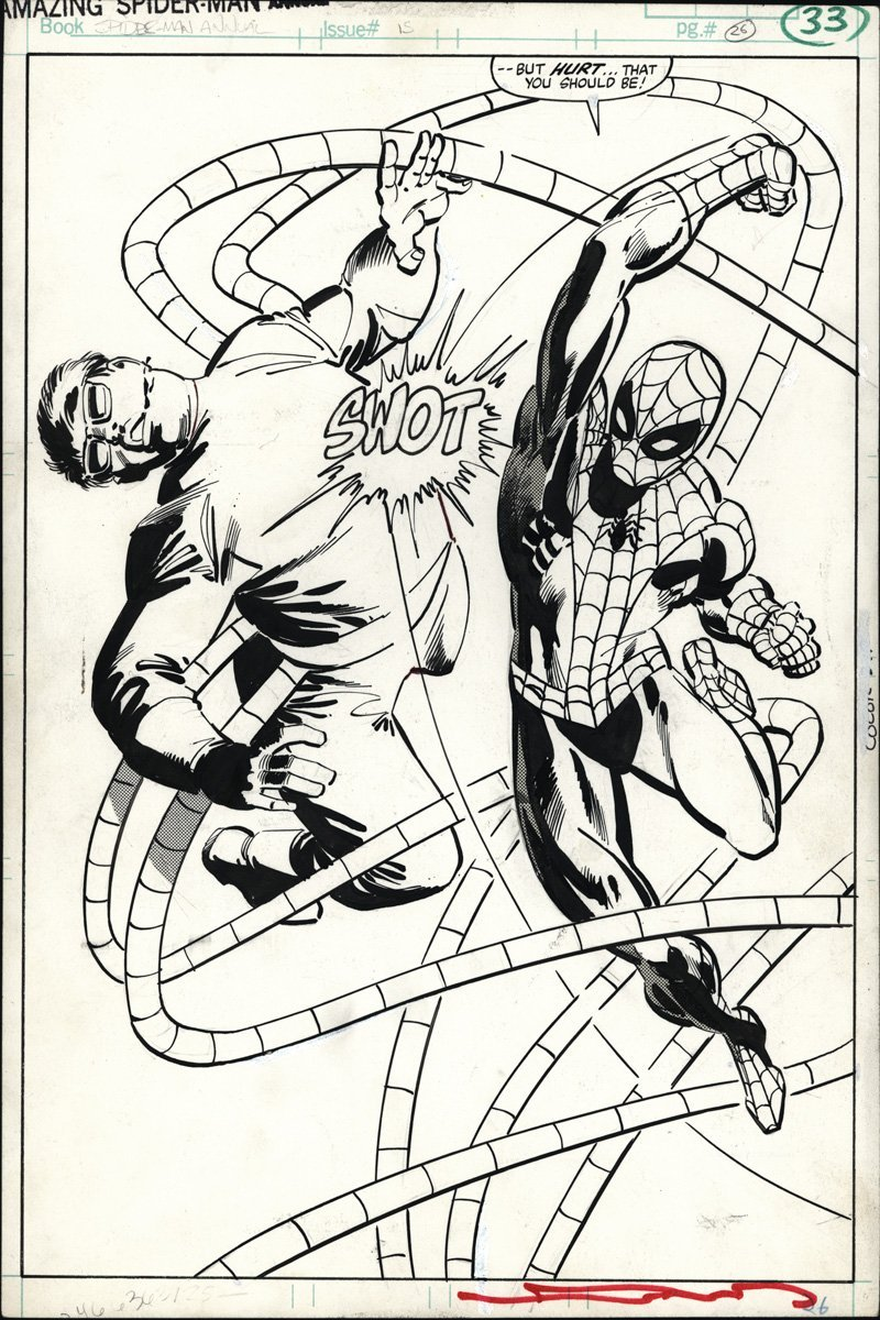 Amazing Spider-Man Annual splash page by Frank Miller & Klaus Janson  Stop hitting yourself.
