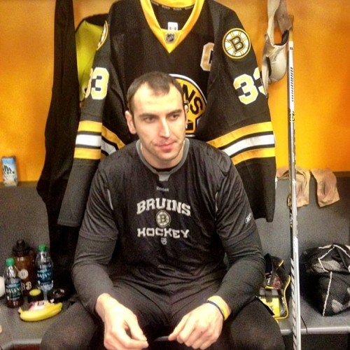 nhlbruins:  Captain Chara in the zone at his locker room stall before game time. #nhlbruins  Hockey players are butterfaces. Thats why they wear helmets.