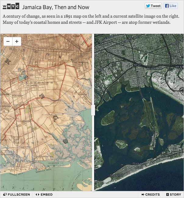 We put a 1891 map over a current image of Jamaica Bay in NYC to let folks explore how the coastline has changed in a century. (Click through for the interactive version.)