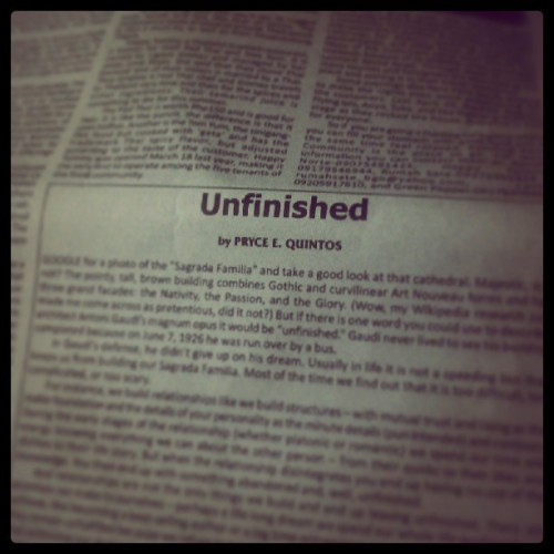 UNFINISHED. Read it in this week's Baguio Chronicle.