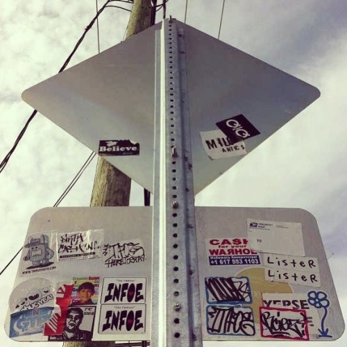 Sticker combo in Miami featuring: Obey, Lister, Crummy Gummy, INFOE, Cash For Your Warhol and more! Photo taken by Robert De Los Rios.