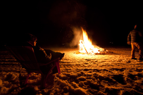 Fires, lawn chairs, and a frozen lake.