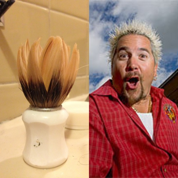 My shaving lather brush totally looks like Guy Fieri.