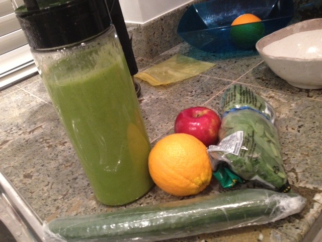 Juice for tomorrow… There may be some frozen mango slices in there as well.