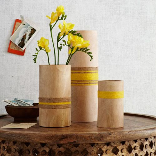 Twine-Wrapped Wood Vases | west elm