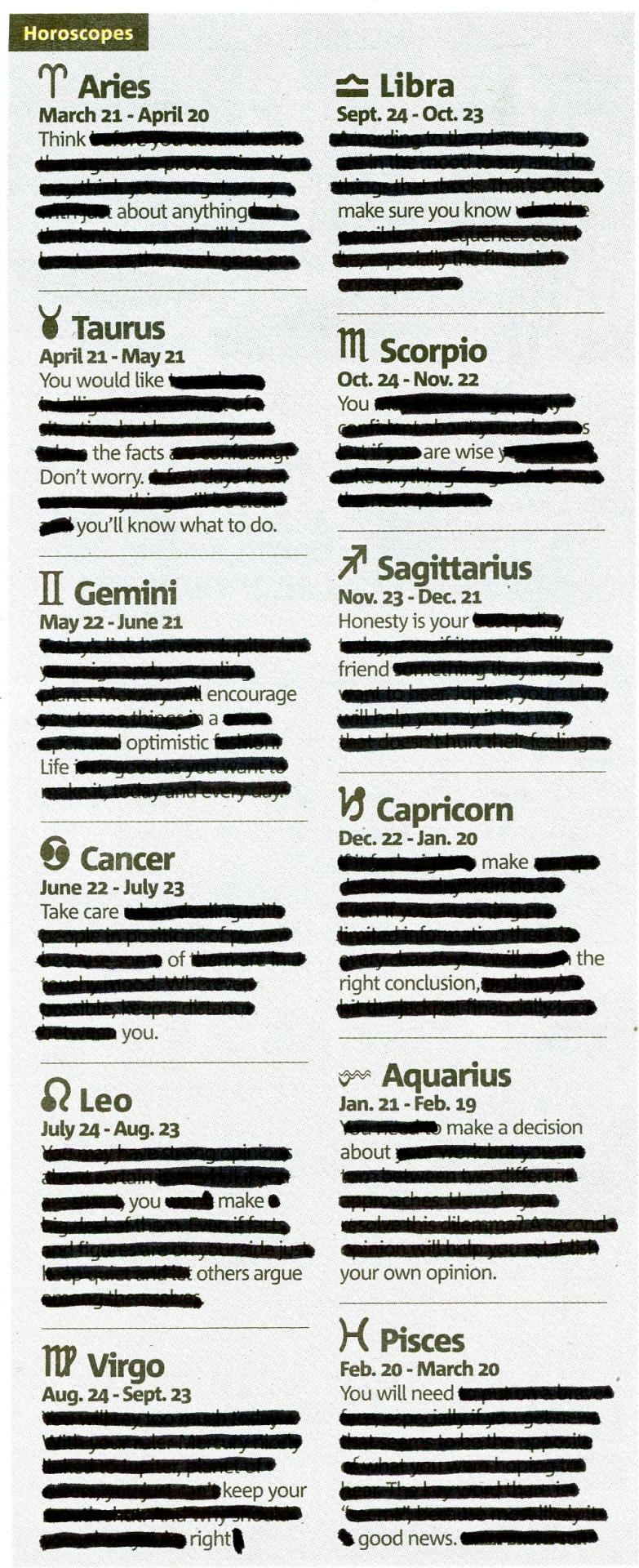 HOROSCOPE - APRIL 24, 2013