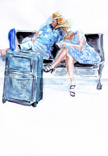Watercolour sketch—a sleeping couple at a railway station by Livinginsunday on Flickr.