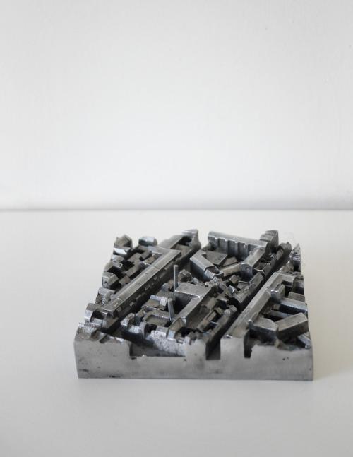 archidose:  Thesis project 'Copenhagen City Museum' by Hedvig Skjerdingstad. Conceptual site model 1:1000, mold casting aluminum. 21x21cm. www.skjerdingstad.com