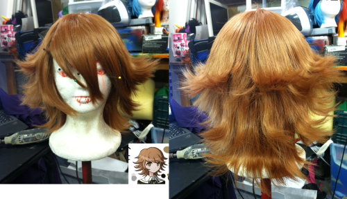 ineloquentformalities:  Working on a Chihiro wig for my lovely friend Angie. uwu It's not done, but I wanted to share it with you guys! [Still have to cut the bangs, and do some more heat treatment to the curls and such]  the things we do to our wigg heads to make the m thme more/less creepy to use :)