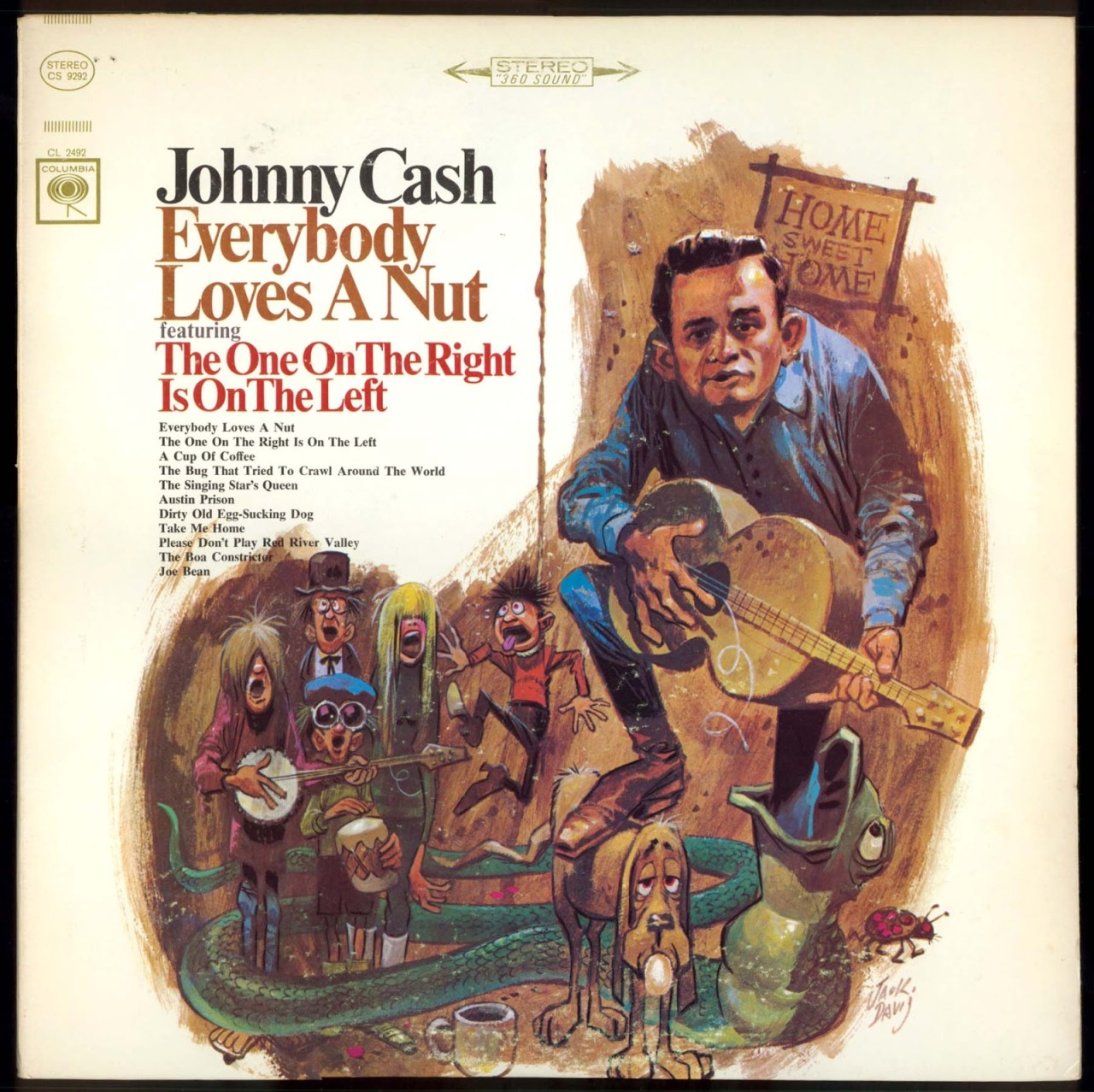 Johnny Cash - Everybody Loves a Nut, 1966 Album cover by Jack Davis.