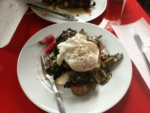 Poached egg on swiss chard and toast after a trip to the farmer's market is my favorite breakfast to make.