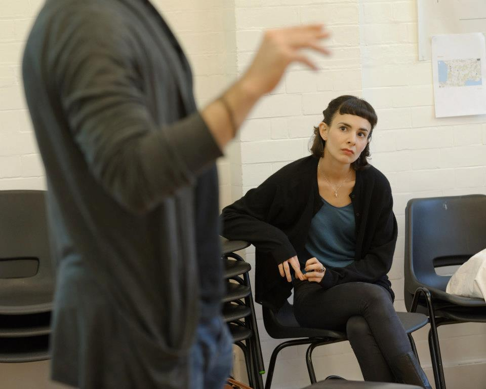Rehearsals for the Donmar production of Vercors' The Silence of the Sea Finbar Lynch (old man) + Simona Bitmaté (old man's niece) Leo Bill (German soldier) + Simon Evans (director)  [photos by theatre photographer Simon Kane]