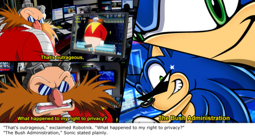 "fanfictionimg:  ""That's outrageous,"" exclaimed Robotnik. ""What happened to my right to privacy?"" ""The Bush Administration,"" Sonic stated plainly.  this blog is perfect"