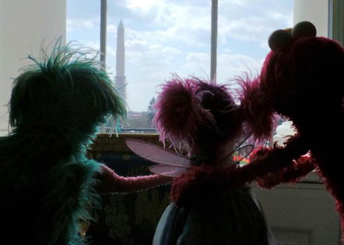 sesamestreet:  Waiting for the First Lady in a room with a view!