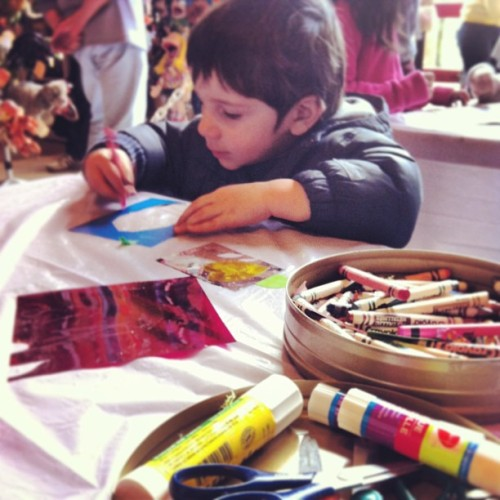Crayons, glue & paper from #UrbanSource #springbreak #crafts (at Granville Island Kids Market)