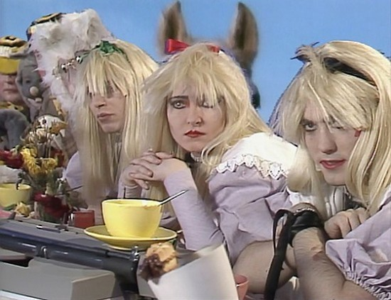 frozenvault:  (via Siouxsie & The Banshees vs. Alice In Wonderland Now Showing « CVLT Nation)  What would happen if one of your favorite bands got trapped inside of an Alice In Wonderland fantasy world? You would end up with the 1984 play-at-home special featuring Siouxsie & The Banshees alongside Robert Smith telling some bugged out children stories. Hearing each band member speaking through their inner child is pretty awesome! Within the chapters, you will see some outstanding Siouxsie & The Banshees videos. If you have young children who like good music, this is a perfect video for both you and them…Now watch The Banshees do their thing in fantasy land…