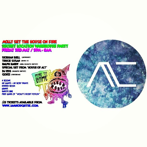 House of alt's DJ'ing Debut!!   If your familiar with House of alt you should know that we love all things creative, with that being said we have taken a short break from the camera to work our magic on the decks.  Our 2 hour set will consist of what we call Alt Life & Noughties, both sets will include tracks we all love but never really hear in the dance.   Details:  Molly set the house on fire//9pm-6am//£5 Tickets (Ticket only event - www.iamnoughtie.com)//3rd May//Secret location Warehouse Near Old Kent Road (address revealed when you purchase a ticket) @theconfidentrecluse
