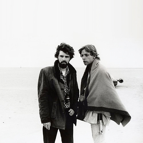 cinecat:  George Lucas and Mark Hamill on the set of Star Wars (1977)