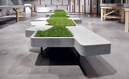 lite-blu:  Grass Bench, designed by Philippe Nigro for Pibamarmi  Grass and concrete bench