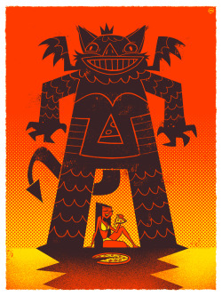 "Pizza Demon. A screenprint made for the ""Eat Me"" show at Telegraph. Available here - http://telegraphgallery.com/"