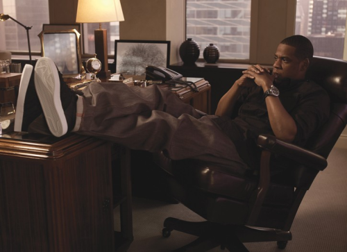 aintnojigga:  Jay-Z, photographed for Rocawear in his 39th floor Broadway office in 2009.