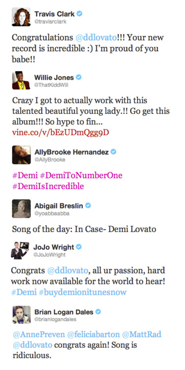 "obsessedwithdemi:  Celebrities react to Demi Lovato's brand new fourth studio album ""DEMI"""