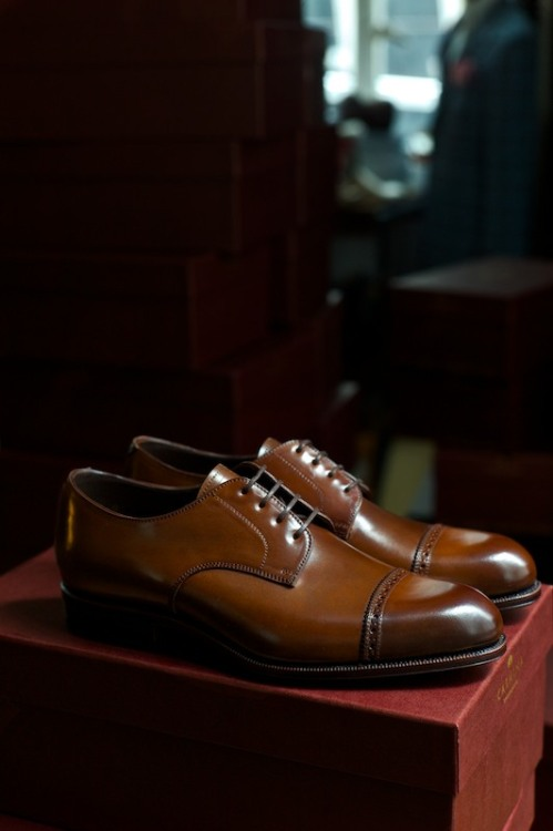thearmoury:  ethandesu:  The 748 Cap Toe Derby in Cognac Cordovan Carmina for The Armoury  Available in the online store  the perfect looking blutcher, in a just right shade of brown