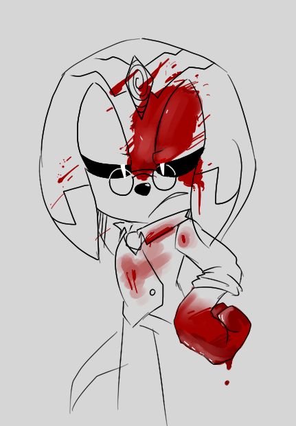wip wip !!! he's so rustled that he got blood on his new vest