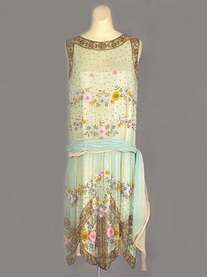 "This screams Easter and Spring!  French beaded silk chiffon dress, c.1924. Label: ""Made in France."" 