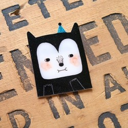 The Black Cat Shrink Plastic Brooch  www.etsy.com/shop/minifanfan  #etsy #shrink #plastic #handmade #cute #wearable #brooch #cat #black