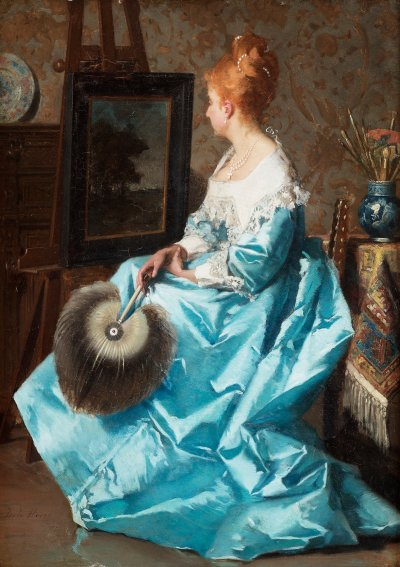 fleurdulys:  Lady in a Blue Dress - Jean de la Hoese 1876