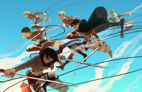 rockets:  New Attack on Titan print finished ヽ(;▽;)ノ will be availabe in 17 x 11inch format, selling these at Fanime, Akon and AX! Please full view~