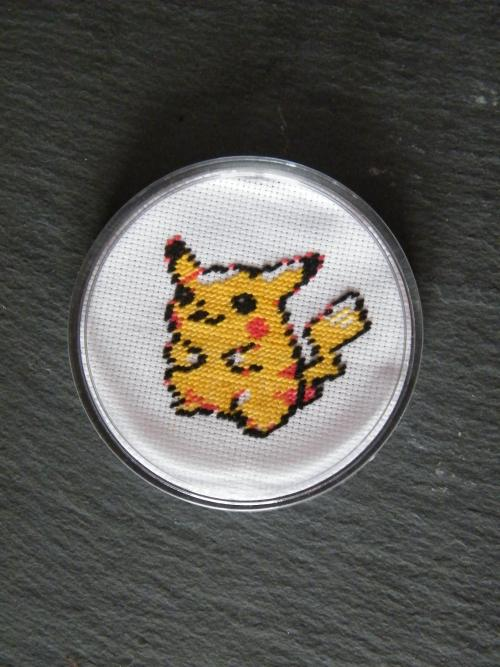 pokemoncross-stitch:  Pikachu Cross Stitch Coaster by ~m0nsterhug