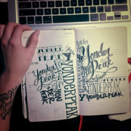 Sketchbook page of lettering ideas/doodles for a friend's band. #art #sketchbook #sketch #doodle #artistsofinstagram #tattoo #tattooletters #customletter #fineliner #moleskine