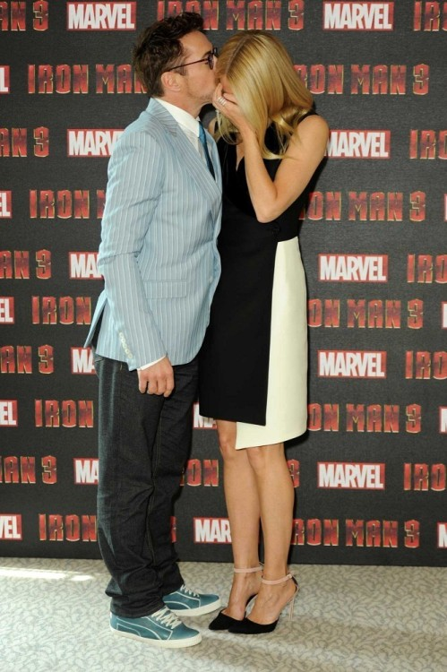 Robert Downey Jr and Gwyneth Paltrow at the London photocall for Iron Man 3, April 18th