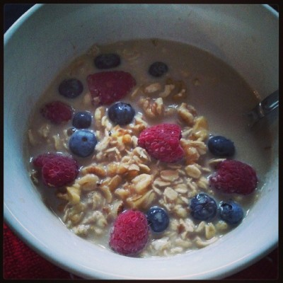 My new breakfast obsession…oatmeal with almond milk, berries and walnuts… #breakfast #vegan