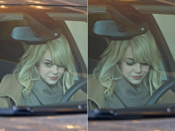 Proof that Emma Stone needs no makeup, she's flawless.