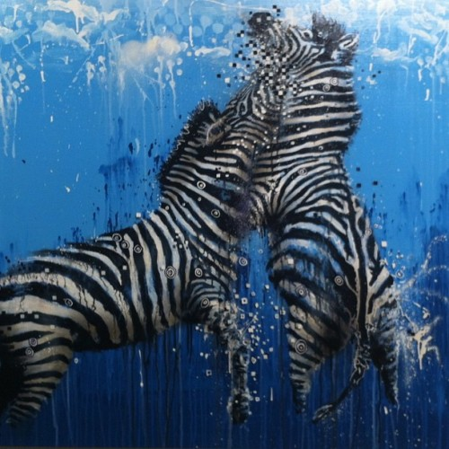 Zebra clash canvas. Last day tomorrow for my show in Sydney at Tate gallery