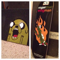 volkspirate-jim:  New board. #adventuretime #skateboarding #skateboard #jakethedog #jake #griptape #deck #enjoi #stencil #spraypaint  Favourite stencil my partner has done for one of his boards.