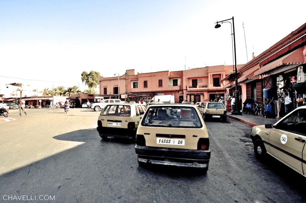 Taxis queuing in the Marrakech medina
