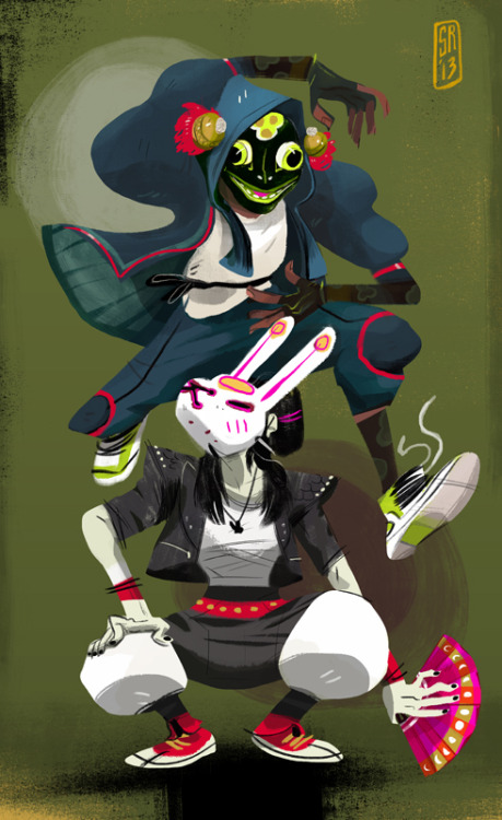 shantisart:  Frog and Rabbit Dancers (personal piece)  Much of this was inspired by a fusion of masks, asian culture & street dancing. The bunny's mostly punk, but the frog is based loosely on a Balinese frog dancer.