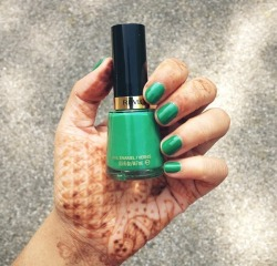 onlywithchai:  Behold, Revlon's Posh. Reminded me of the Starbucks's green straw so I obviously had to have it. Essie came out with a similar color and unfortunately it was a sheer polish. Opaqueness: The regular 2 coats & you're good. Formula: Easy to work with. No fuss when you apply. Haven't noticed any chipping. Gives good shine.