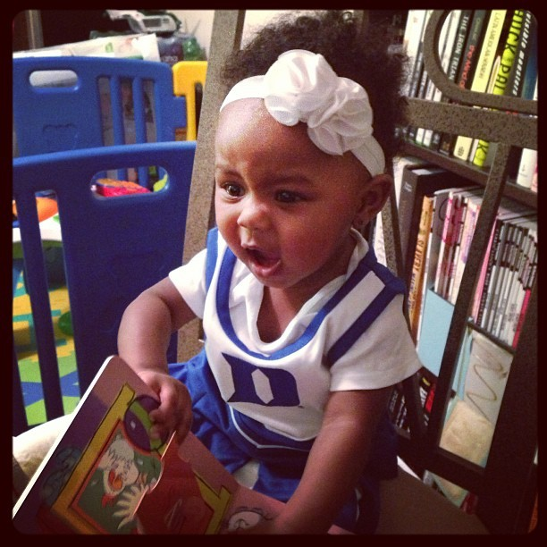 Sienna yelling at Duke to get back in the game!!
