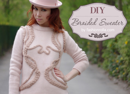 DIY Easy Braided Detail Sweater Restyle Tutorial from Fashionrolla here. Really on trend sweater restyle using 3 sizes of braids to decorate this sweater.