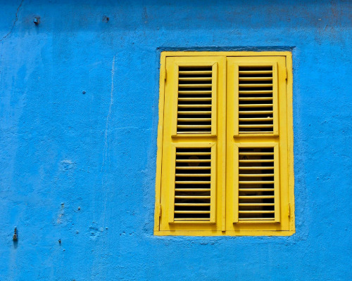 blue blue paint blue wall teal turquoise vibrant color colour coloful window yellow caribbean travel house curacao island dutch antilles willemstad island tropical summer beach