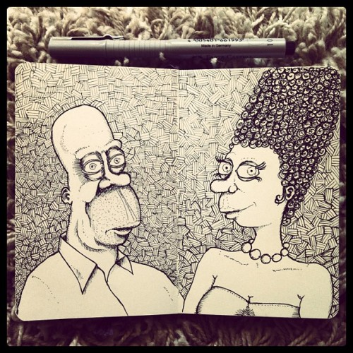 Homer and Marge Simpson #sketchbook